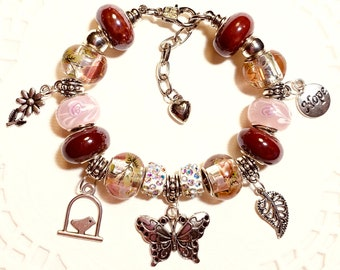 Butterfly in Nature European Style Charm Bracelet