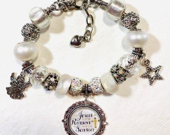 White Christmas- European Style Charm Bracelet-Jesus is the Reason for the Season