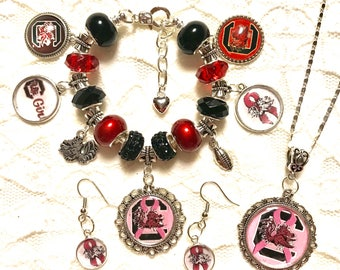 SC Gamecock Breast Cancer Awareness Set- Necklace, Earrings and a Charm Bracelet.  Sterling Silver Necklace and Bracelet chain available in