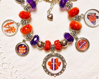 CLEMSON National Champions - European Style Charm Bracelet  ACC Champions 4 years in a row  Best Ever!!