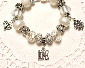 Love White, European Style Charm Bracelet