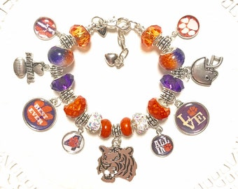 CLEMSON National Champions - 2016 & 2018!! European Style Charm Bracelet  ACC Champions 4 years in a row  Best Ever!!