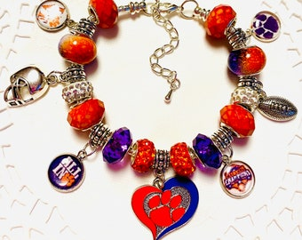 CLEMSON TIGERS-3 Time National Champions!  European Style Charm Bracelet. Glass Murano and Lampwork Beads. Handmade charms.