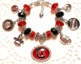 SC Gamecock- Handmade European Style Charm Bracelet