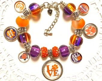 3 TIME CLEMSON CHAMPIONS- European Style Charm Bracelet, Best Ever!