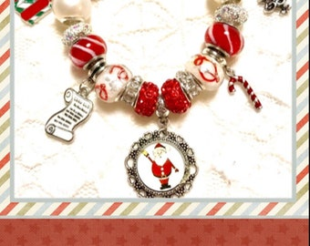 Santa Clause, Christmas Red, European Style Charm Bracelet