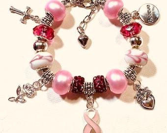 Breast Cancer Awareness 3, European Style Charm Bracelet