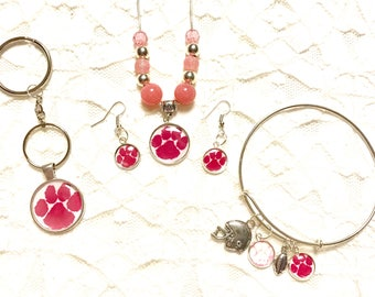 Clemson Pink Set- Necklace, Earrings and a Adjustable Charm Bracelet  Sterling Silver Necklace and available in different sizes and keychain