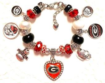 Georgia Bulldogs- European Style Charm Bracelet.
