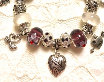 Hearts, European Style Charm Bracelet