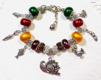 Thanksgiving Feast #3 Homemade European Style Charm Bracelet, made just for Thanksgiving!!