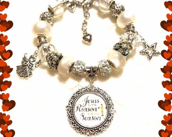 Jesus is the Reason for the Season, Sparkle White, European Style  Bracelet