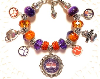 CLEMSON TIGERS- European Style Charm Bracelet, Get your colors and your Bling on! !!