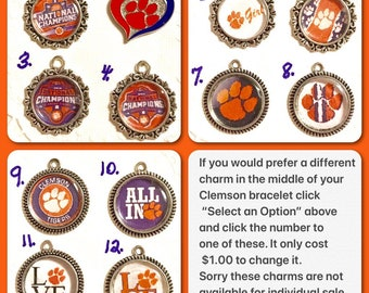 """Pick your Clemson Charms!                               """"not available for Individual sale"""""""