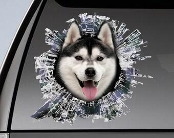 Husky Car Decal Etsy