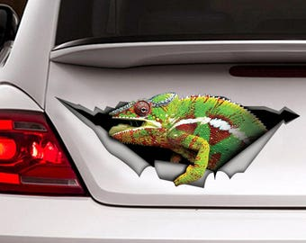 DECAL / Funny  Chameleon car  decal, reptile  decal,  chameleon  sticker