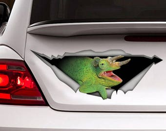 Green Chameleon car  decal, reptile  decal, funny chameleon  sticker
