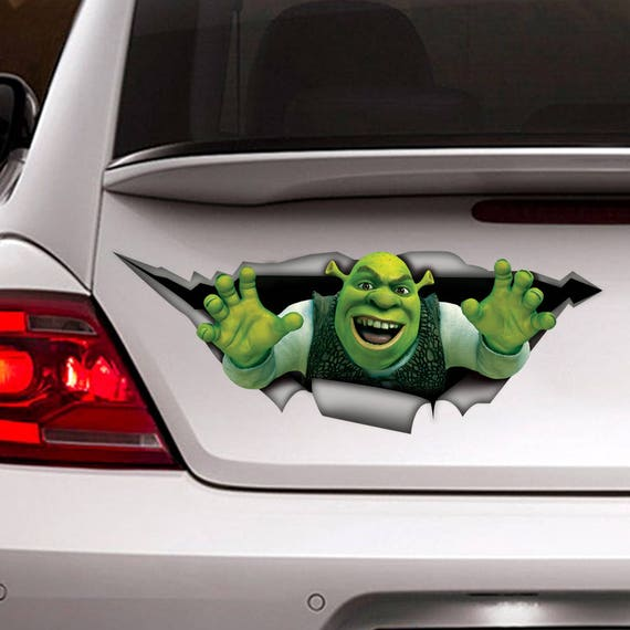 shrek auto aufkleber 3d aufkleber lustige aufkleber etsy. Black Bedroom Furniture Sets. Home Design Ideas