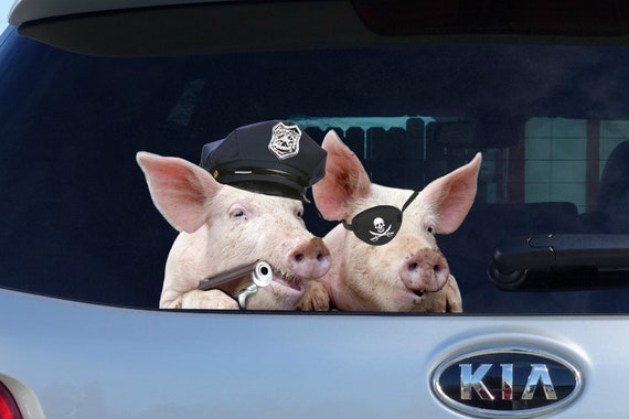 5/'/' 3/'/' Funny Pig In The Mud Car Bumper Sticker Decal 6/'/' or 8/'/'