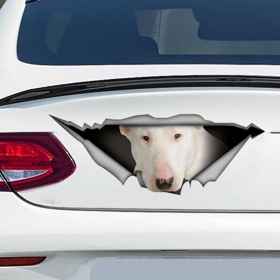 White Bull Terrier Auto Aufkleber 3d Aufkleber Bull Terrier Aufkleber