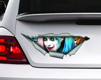 Harley Quinn car decal, Harley Quinn sticker, Vinyl decal, funny sticker