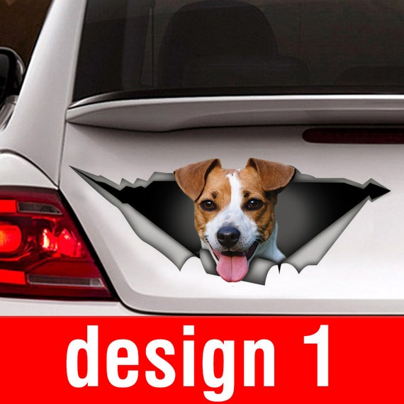 Jack Russell On Board Window Funny Cute Car Bumper Sticker Dog Door