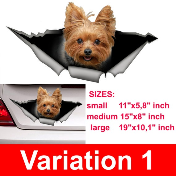 Yorkshire Terrier Torn Metal Decal Animal Car Stickers for Window Bumper Pet Dog