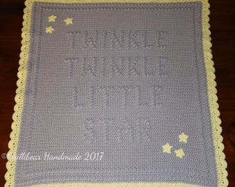 Twinkle Twinkle Little Star Crochet Baby Blanket 70x65 cm Made to Order .Various Colours custom made