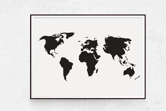 World map poster black and white large wall art map print etsy image 0 gumiabroncs Choice Image