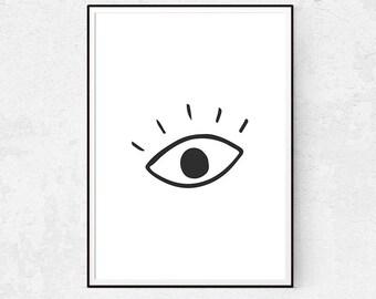 Eye Print, Fashion Wall Art, Eyelashes Poster, Black and White Large Wall Art, Illustration Print, Scandinavian Home, Minimalist Decor, Home
