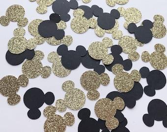 Gold and Black Mickey Confetti, Wedding Party Confetti, Baby Shower, Birthday Confetti, MickeyThemed Confetti