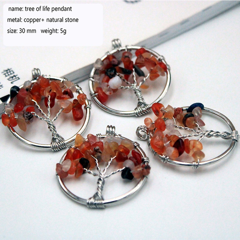 1 pc Colorful life tree eardrop chakra small pendant diy jewelry accessories