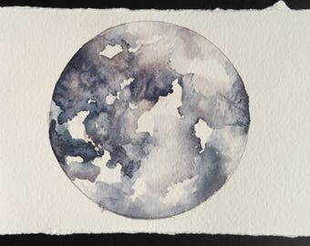 Full moon original watercolor