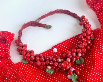 Red bright necklace handmade lingonberry