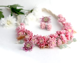 "Necklace  ""Bouquet of chrysanthemums"""