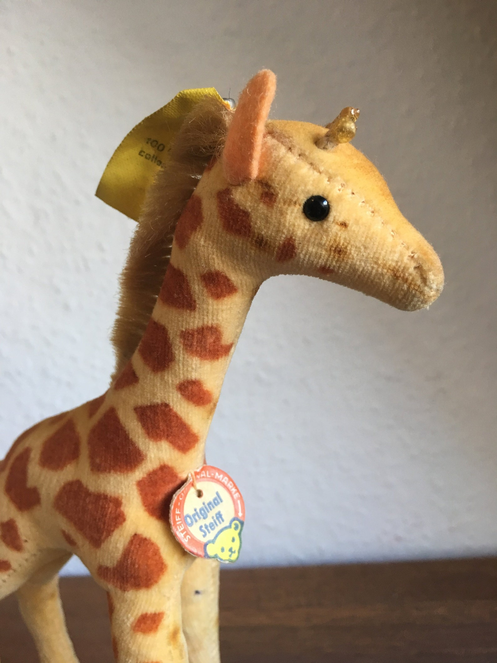 Very Rare! All Ids 60s Vintage Steiff Velvet Giraffe antique soft toy, button in ear, gift for collectors