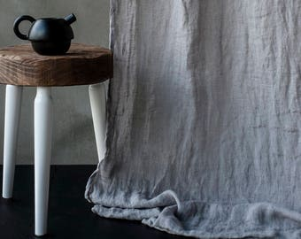 """Pure linen curtains, 59x118"""", European textured linen drapery, Canopy over the bed, Linen curtain panel, Light and transparent drapes"""