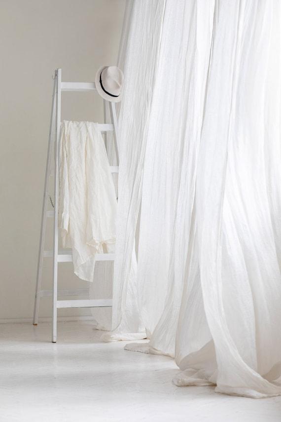 Linen Muslin Curtains Sheer Linen Drapes White Linen