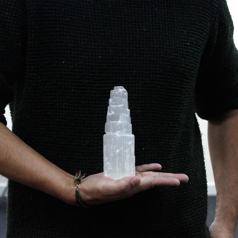 - 15cm Selenite Tower Calming Protective /& Peaceful Natural
