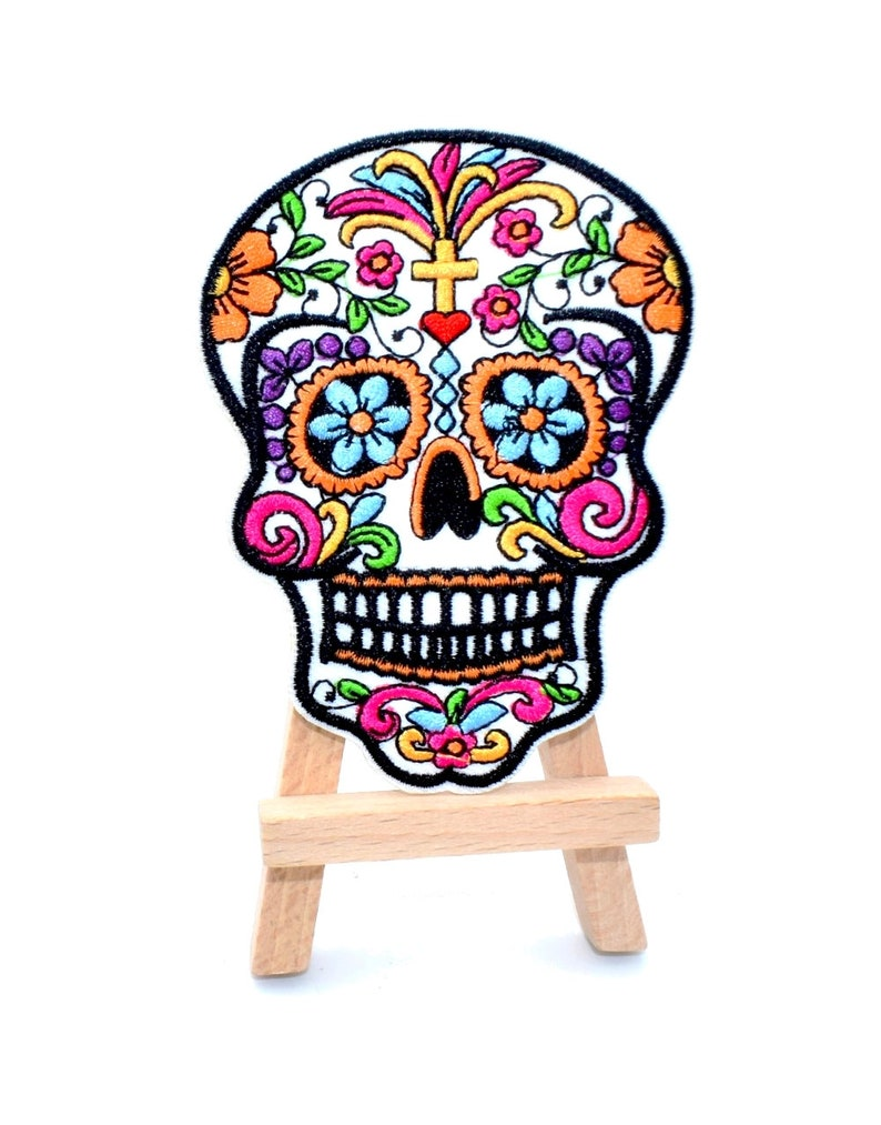 day of the dead patch skull applique for customization Deathhead patch calavera thermostick coat 10 cm