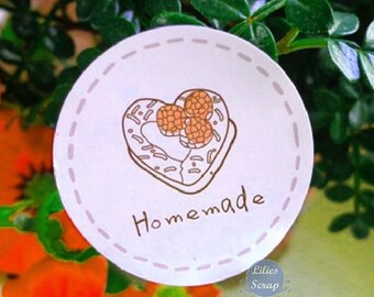 Homemade 60 tags, homemade - wall decal stickers for your cakes, sweets, jams...  3.5 cm