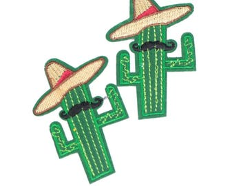 2 badges embroidered cactus with Hat and mustache fusible sir cactus patch 7 cm