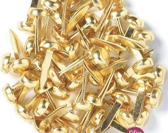 20 screw Brads round Gold 8 mm creative cardmaking scrapbooking