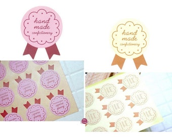 72 tags Handmade wall decal stickers labels for your baked goods, jams... homemade organic