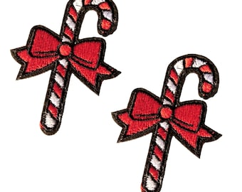 X 2 patches embroidered Christmas barley sugar, candy thermosticks with red knot for customization