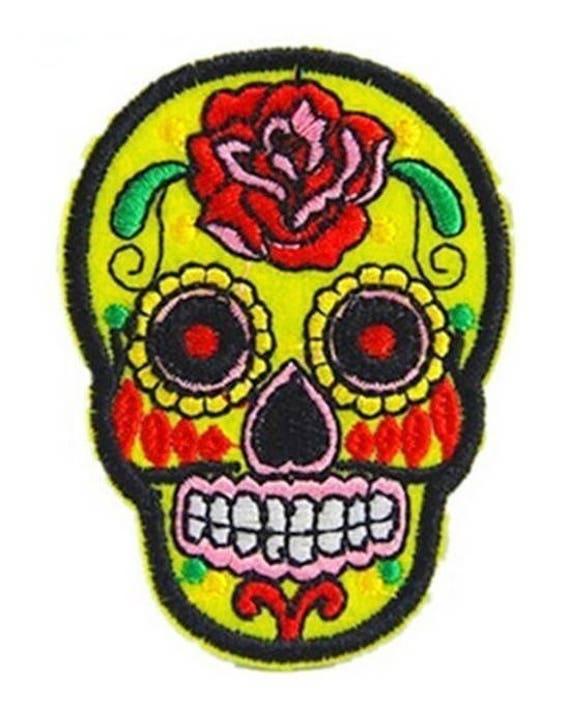 8 ECUSSONS TETE DE MORT MEXICAINE CALAVERA  EMBROIDERED PATCH SKULL 7 cm