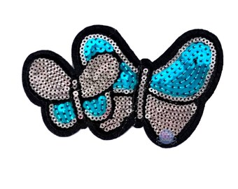 Sequined Butterfly butterflies 11.8 cm fusible patch badge