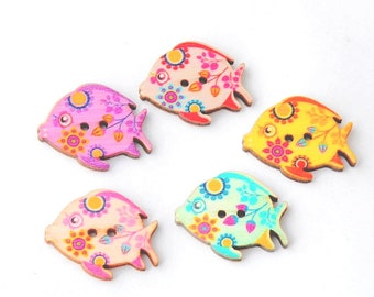 8 wood fish tropical 3 cm, 2 holes wood fish buttons buttons.