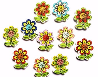10 buttons flowered wooden painted 2.5 cm - 2 holes