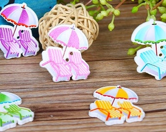 8 chairs and umbrella 3.5 cm - 2 holes wooden buttons